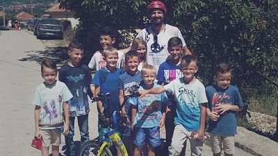 Alessio with children, Macedonia